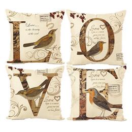 Discount birds car - New Pillow Cover Hot Alphabet Bird Print Pillowcase Love Letter Combination Linen Pillow Case Holder Car Cushion Cover W
