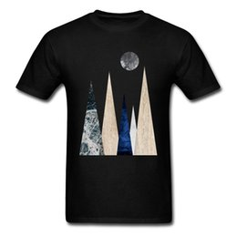 mountain tees UK - Design Geometric Nature Scandi Mountain Scene Men T-shirt Night Moon Simple Style Tops Short Sleeve Tee Shirt Casual