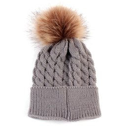 Wholesale Kids Knitted Beanies UK - Baby Knitted Warm Hats Autumn Winter Crochet Woolen Hat Fur Pompons Kid Beanie Boy Girl Cute PomPom Tick Cap Bonnet Gorro