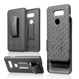 Woven carbon fiber online shopping - Kickstand Woven Case With Clip Belt For LG G8 Stylo V30 K10 K8 Holster Hard PC TPU Shockproof Carbon Fiber Hybrid Weave Cover