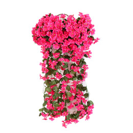 outdoor flowers UK - flower wall Artificial Flowers silk violet vine wedding Decor Wall Hanging wedding backdrop Orchid windowwill garland outdoor balcony decor