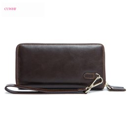 Wallet Business NZ - New high quality double zipper Real Cow leather Men Wallets Business Long Purse For Men Large Capacity Card Holder Mens Purse