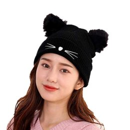 3108d10e Fashion Woman Cat Ear Hat Black Knitted Skullies Beanies Female Beard  Pattern Autumn Winter Warm Hats Ladies Skullcap