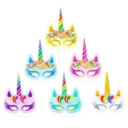$enCountryForm.capitalKeyWord UK - 12pcs lot Rainbow Unicorn Paper Masks Kids Birthday Unicorn Party Favors Wedding Baby Shower Decoration Supplies wholesale