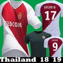 Thailand Shirts Australia - 2018 2019 AS Monaco 17 GOLOVIN FALCAO JOVETIC CARRILIO Thailand Soccer Jerseys 18 19 maillots de foot LEMAR J.MOUTINHO GLIK Football Shirts