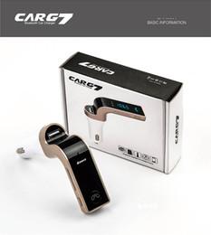 Ingrosso NON ORIGINALE AUTO G7 Bluetooth Car Kit vivavoce Trasmettitore FM Radio Lettore MP3 Caricatore USB AUX Carte di TF Slot Wireless Universale 30 pz /