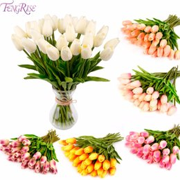 Decorative reD wreath online shopping - FENGRISE PU Mini Tulip Real Touch Flowers Artificial Flower for Bridal Bouquet Wedding Decorative Flowers Wreaths