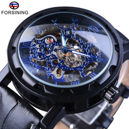 $enCountryForm.capitalKeyWord NZ - Forsining Blue Dial Display Steampunk Gear Movement Leather Belt Men Watch Top Brand Luxury Men's Skeleton Watch Automatic Clock