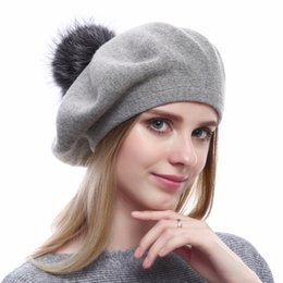 920090fdbac New Top Quality Beret Caps Women s Wool Knitted Hat Cotton Beanies With  Real Silver Fox Fur Pompom Hats Casual Solid Colors
