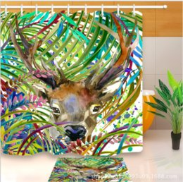 3d bathroom shower curtains NZ - 3D Waterproof Polyester Fabric Bath Curtain Printed lovely deer Shower Curtains floor mats sets for Bathroom