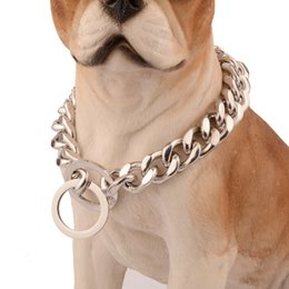 silver chain necklace 16mm Canada - Dogs Heavy Metal Chain 16mm Silver Stainless Steel Curb Cuban Link Chain Dog Collar Puppy Training Collars 12-32