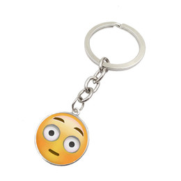 wholesale face gems NZ - Emoji expression smiley face time gem key chain metal glass pendant Keychain ornaments Pendant