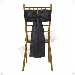 wholesale wedding chairs UK - Black color Wholesales price Free shipping Pintuck Taffeta chair bands  chair sashes for Chiavari chairs Hotel decorations Colorful