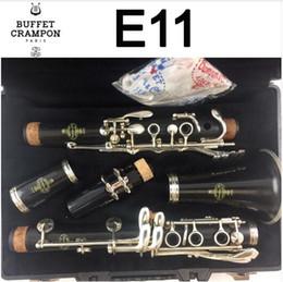 BUFFET E11 Кларнет с аксессуарами для мундштука 17 клавиш Bb Tone Сандаловое дерево Ebony / Bakelite Профессиональная модель для средних деревянных духовых инструментов Студенческая модель на Распродаже