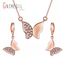 big butterfly earrings 2019 - GNIMEGIL New Big Sale Wedding Jewelry Sets for Women Rose Gold Color Butterfly CZ Necklace and Earring Set Bijouterie Ar