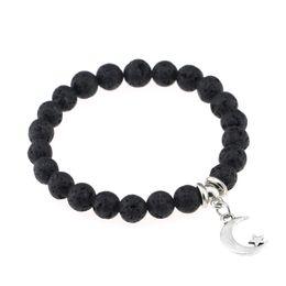 Bracelet anti fatigue online shopping - Anti fatigue Natural Lava Stone Prayer Beads Bracelet Elastic Bangle Diffuser Bracelets Volcanic Rock Beaded Charms Bracelets Pendant H792F