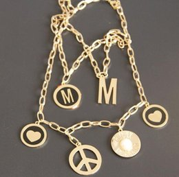$enCountryForm.capitalKeyWord NZ - New big M show model letters fashion necklace Multi-layer metal short necklace clavicle