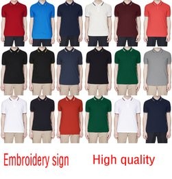 Wholesale 2018 Sales Famous Business men shorts sleeve Polo shirts Popular Cotton embroidery Wheat Polos Custom Designer made Fred Dress shirts