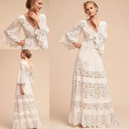 bhldn long sleeve wedding dress NZ - New Lace Long Sleeve Country Bohemia Wedding Dresses Plus Size V Neck BHLDN Full Length Wedding Bridal Gown