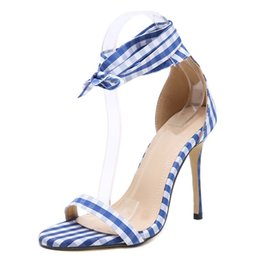 a4223e22635 Plain Cloth Ankle Lace-up Sandals Butterfly Knot Design High Heels 12CM  Crossover Strap Women Sandals Open Toe Stiletto Shoes New Arrival