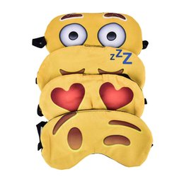 Chinese  200PCS Lovely emoji Nap Eye Care Shade Blindfold Sleep Mask Eyes Cover Sleeping Cartoon 3D Printing Sleeping Eye Mask manufacturers