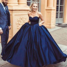 China Sexy Navy Blue Ball Gown Prom Dress Satin with Organza with Soft Lining Fancy Evening Dress Prom Dresses LACE-UP Zipper Back cheap fancy water pipes suppliers
