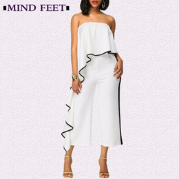 jumpsuits one leg Australia - MIND FEET Women Sexy Jumpsuits Strapless Ruffles Loose Spring Summer 2018 One Shoulder Wide Leg Pants Female Jumpsuits 2 Color