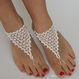 Wholesale Crochet White Beach wedding shoes White Shoes Women Sexy Barefoot Sandals Bridal Party Sexy Foot jewelry Bridal Accessories
