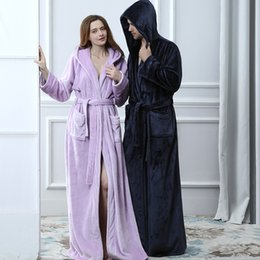 Lovers Thermal Hooded extra Long Flannel Bathrobe Women Men Thick Warm  Winter Kimono Bath Robe Bridesmaid Robes Dressing Gown C18110301 5e8e1e39a