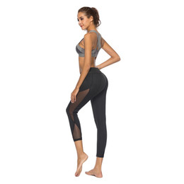 Black Blocks Australia - Women Casual Leggings Fitness Winter Jeggings New Arrival Ladies Elastic Waist black Pants Block Mesh Insert Leggings
