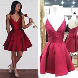 Red Dress V Neck Straps Australia - Cheap Red Short Homecoming Dresses Fine shoulder strap Modest Cocktail Party Gown Dark V Neck 8th grade prom dresses