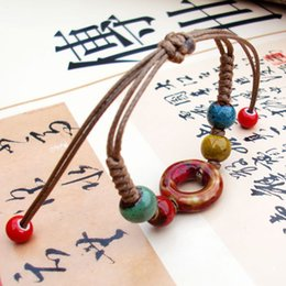 Chinese  Ceramic Bracelet Wave Retro Chinese Style Hand-knit Ethnic Style Flower Glaze Bracelet Beaded DIY Creative Fashion Gift Jewelry Wholesale manufacturers