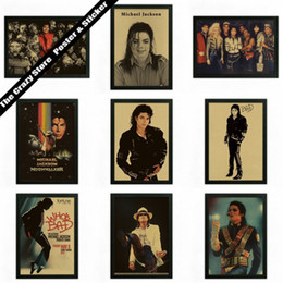 Wall Stickers Rock Australia - Michael Jackson rock music retro poster Vintage posters kraft paper decorative wall sticker