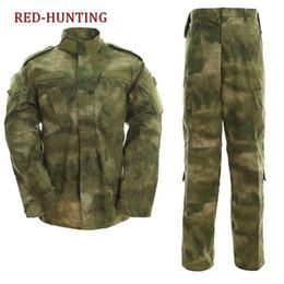 camo army uniform 2019 - Uniform Tactical Atacs A-tacs FG Camo PC Ripstop Shirt & Pants Army Combat Coat Set cheap camo army uniform