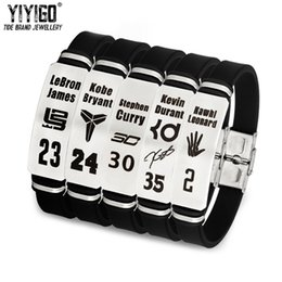 wristbands james bracelet NZ - 1Pieces Silicone Stainless Steel Basketball Bracelets Kobe James Curry Irving Men Student Buckle Adjustable Sports Wristband