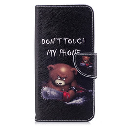 China 165 Mobile Phone Models Case Stand PU Leather Cover with Wallet Cards Money Holders Cool Warning Bear suppliers