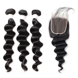 $enCountryForm.capitalKeyWord Australia - 9A Loose Deep Body Wave Human Hair Bundles with Closure Deep Loose 3Bundles with Lace Closure 8-28 inch Remy Human Hair Extensions
