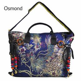 abcaec662eef Старинные женщины холст сумка Павлин вышивка сумка стильный тотализатор  сумки случайные креста тела сумка с декоративными подвесками