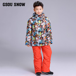 Wholesale 2017 New Children s Snow Ski Suits Baby Boys Girls Outdoor Wear Hooded Jackets Bandage Pants Kids Winter Warm Sport Coat Sets
