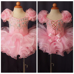 Make Mini Cupcakes Australia - 2019 Off Shoulder Girl Pageant Cupcake Dresses Infant Beaded Mini Short Organza Skirts Toddler Girls Birthday Special Occasion Gowns Beaded