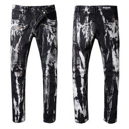 4a8038ac29315 Balmain Fashion New mens Biker Jeans Motorcycle Slim Fit Washed Blue Moto  Denim skinny Elastic Pants Joggers For Men jeans