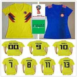cd9f7bd13 2018 World Cup Woman Colombia Soccer Jerseys 10 JAMES 9 FALCAO 11 CUADRADO  8 AGUILAR BACCA Custom Ladies Men Kids Youth Football Shirts