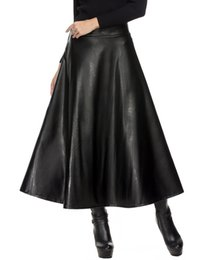 Ingrosso Gonna in pelle invernale PU donne saia faldas Gonne lunghe maxi donna vita alta Slim autunno gonna a pieghe nera XL XXL