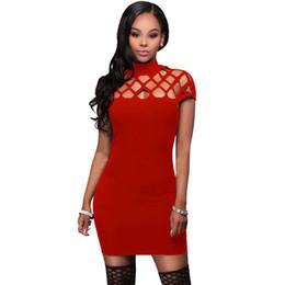e278275d15 Wholesale Free Shipping Women black red short sleeve summer hole cheap  bodycon slim mini sexy girl dresses