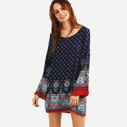 Wholesale long sleeve shift mini dress for sale – plus size Women Dress O Neck Long Sleeve Paisley Print Mini Shift Dress Spring Summer Casual Dresses Chiffon Beach Dress