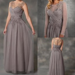 Discount cheap purple mother bride dresses jackets - Simple 20118 A-Line Gray Chiffon Mother Of The Bride Dresses With Jacket Applique Lace Dresses Evening Wear Cheap Guest