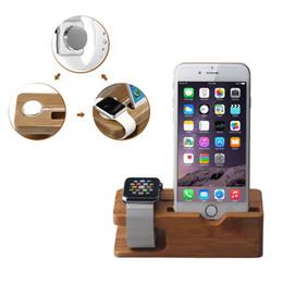 Suporte de carregamento de bambu do suporte do carregador da estação da doca para o suporte de carregamento do telefone do relógio
