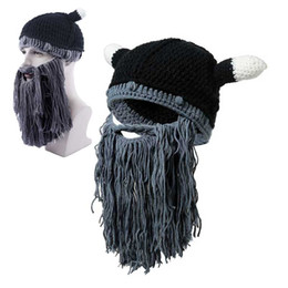 fc77a8af2c0 Men Winter Viking Hats Adult Funny Party Mask Beanies Beard Wig Hats  Handmade Knint Wool Ski Caps