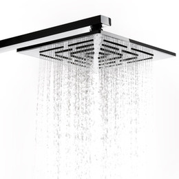 square rain showers UK - 8 Inch Chrome Finish Square Rainfall Shower Head 248 Holes Water Out Stainless Steel Rain Showerhead (Not Including Shower Arm)