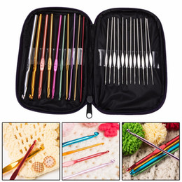 Coloured Storage Boxes NZ - 22pcs set Multi Coloured Aluminium Crochet Hooks Knitting Needles Set Weave Craft with Bag Embroidery Needlework Supply